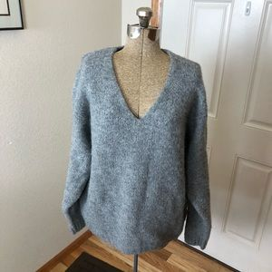 H&M Gray Wool Blend Vneck Sweater